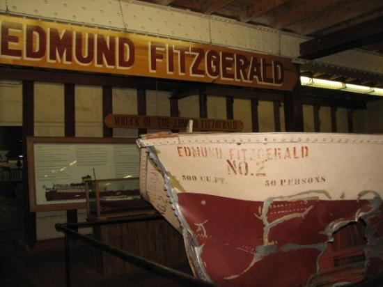 Sault Ste. Marie, MI: Lifeboat wreckage from the Edmund Fitzgeral (inside Museum Ship Valley Camp)