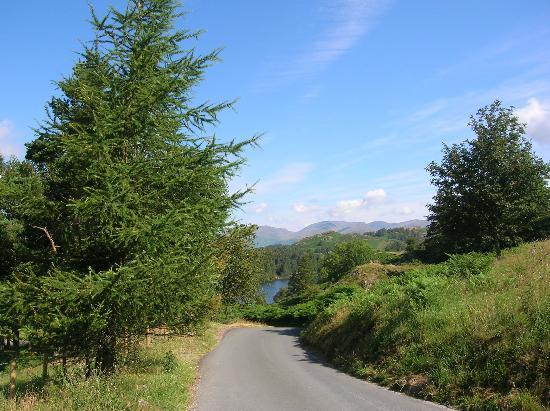 the road past Sawrey Ground by Tarn Hows