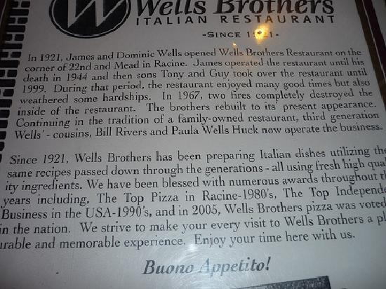 Wells Brothers Italian Restaurant: History
