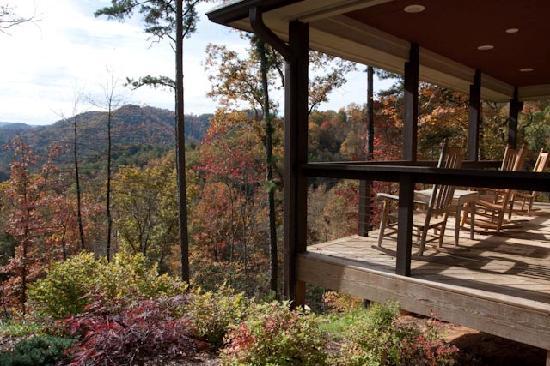 Robbinsville, NC: View of Trillium cottage porch in autumn