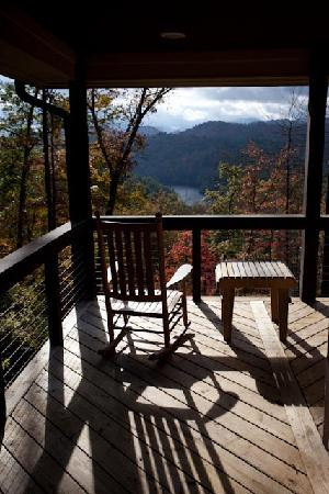 Robbinsville, NC: Rocking chairs on the Trillium cottage porch