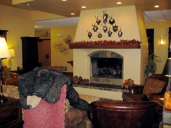 Bavarian Lodge: Here's 'Papa Bear' sleepily greeting you in the lobby area.