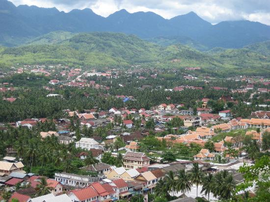Hotel Amantaka: View of Luang Prabang, Amantaka in right half of picture