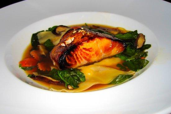 Ame : Broiled Sake Marinated Alaskan Black Cod and Shrimp Dumplings in Shiso Broth