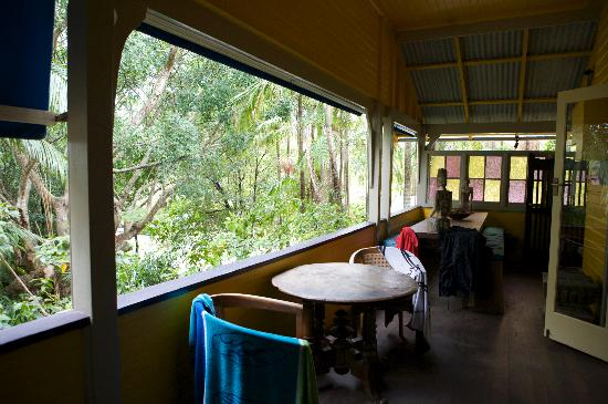 Byron Bay Guest House: View from front veranda (with our towels!)