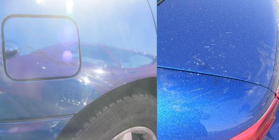 West Texas Inn: Car Damage from Shingles