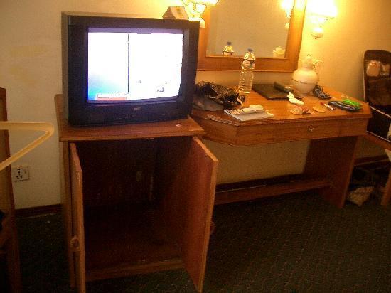 Hotel Vaishali: ちょっと心配な家具やイス。最初のTVは壊れていた。