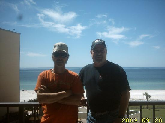 Top of the Gulf Suites : Randy & Timmy on common balcony, center of 6th floor, Top of the Gulf