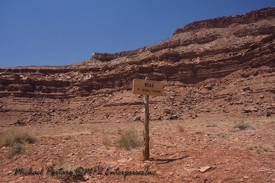 White Rim Trail: The only thing interesting about this photo is that - contrary to the sign that indicates 105 mi