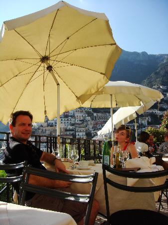 enjoying lunch at Bruno's in Positano