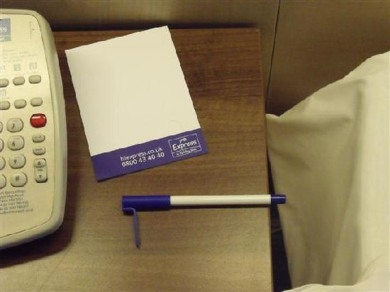Holiday Inn Express Norwich: Note hair and bent pen lid