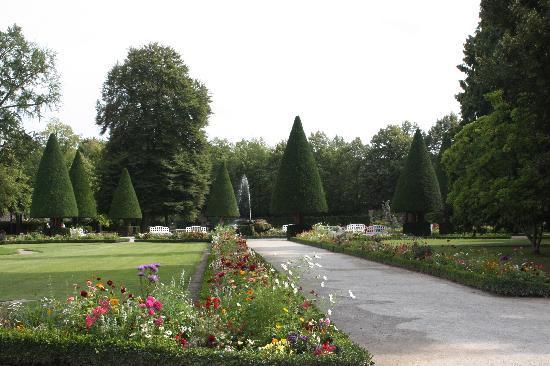 Die Residenz: Manicured trees in the garden.