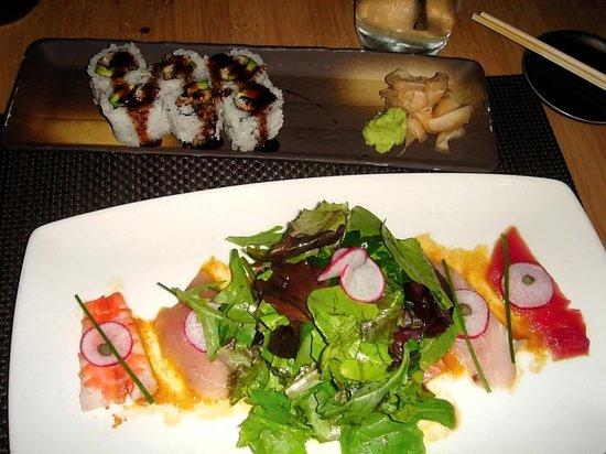 Sushi Roku: Mixed Sashimi Salad and Eel Avocado Roll