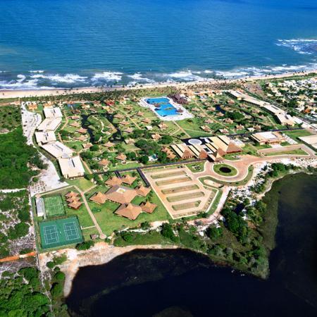 Camacari, BA: Aerial view of hotel complex, Guarajuba Beach, Bahia, Brazil