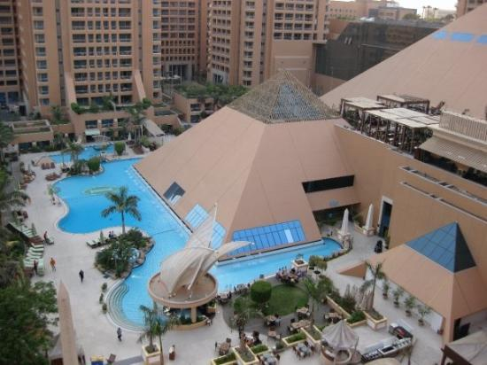 InterContinental Cairo Citystars: View from our hotel room window of the hotel swimming pool