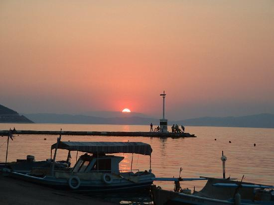 Thassos Town (Limenas), Greece: Sunset in the old harbour
