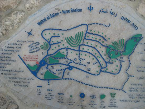 Wahat al-Salam Guest House and Conference Center: Plan of the village, fixed on a stone at the entrance.