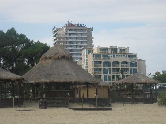 Hotel Kuban from the beach (the center building)