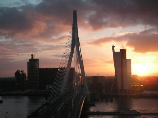 View from my apartment - Erasmus Bridge (sunset)