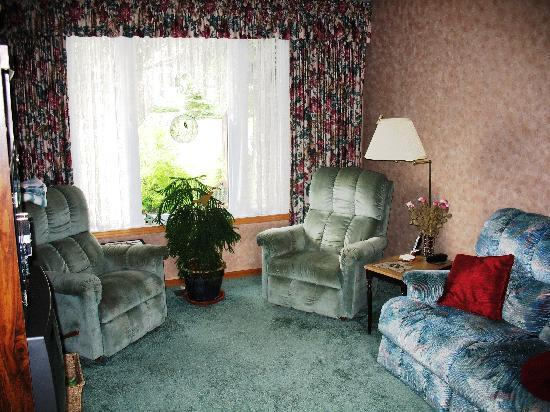 Fenton's Bed & Breakfast: Family room with fireplace