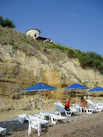 Niforeika, Greece: The beach with the windmill above