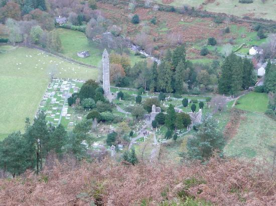 Glendalough Hermitage: Glendalough from above