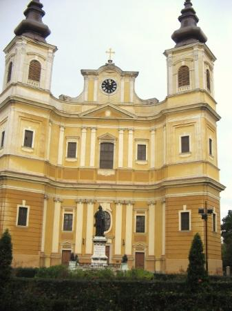 The Roman-Catholic Cathedral: Statue of St. Ladislaus (1046-1095), King of Hungary,canonized 1192. He founded the city and the
