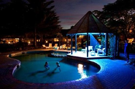 Wylie Court Motor Lodge: Thermally heated outdoor pool at night