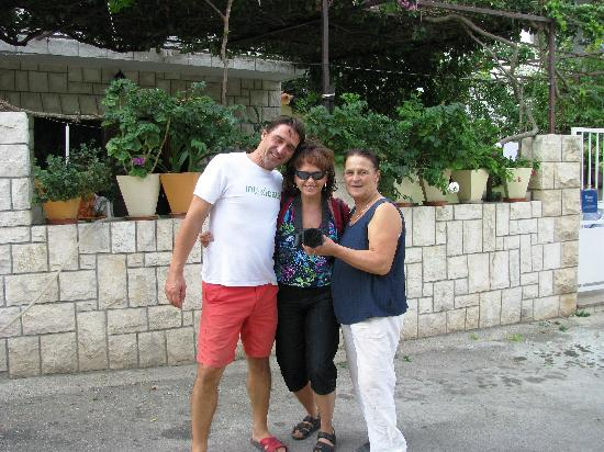 Apartments Komazin: Andro & his mother......and myself!  Wonderful hospitality.....