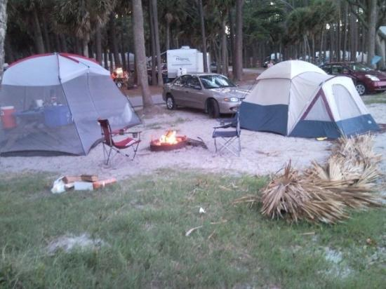Campin at Hunting Island State Park, this is our campsite from the front