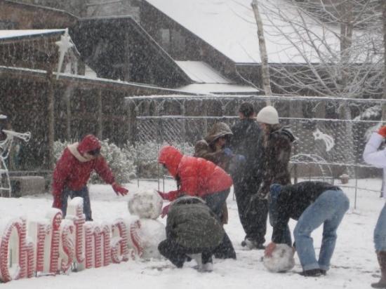 Karuizawa-machi, Japan: snowman with us, here name is JOY...