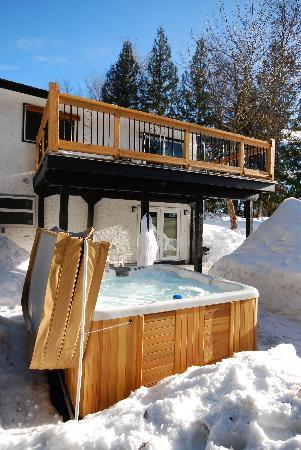 Adventurer's Guest House: Outdoor Hot Tub in Winter!
