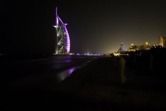 Burj Al Arab Jumeirah: Burj Al Arab viewed from the beach (Opposite side)