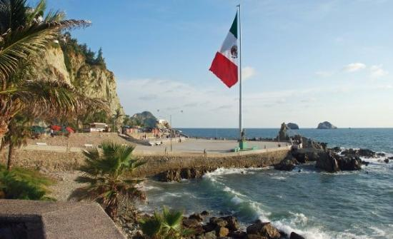 Mazatlan Mexico Large Mexican Flag On The Malecon