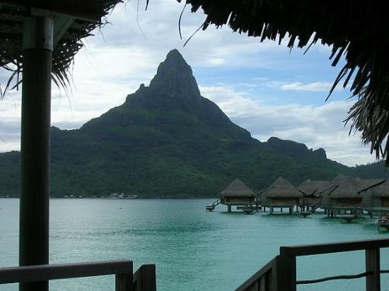 Mount Otemanu : View of Bora Bora from our overwater bungalow, Tahiti