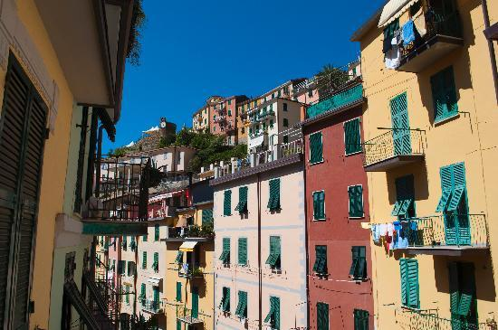 This is the view of Riomaggiore from the Blue Room at Il BoMa.