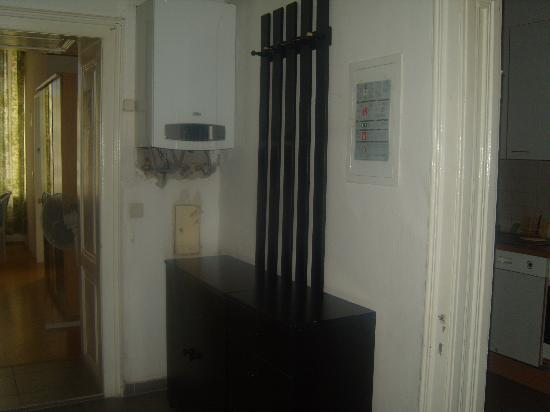 Happy Hostel: The entrance to the apartment, with the Kitchen to the right, and the living room to the left