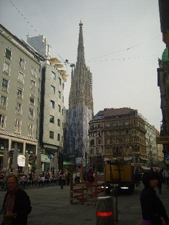 Happy Hostel: View of the Stephansdom Cathedral from Goldschmiedg Street.