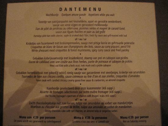 De Florentijnen: Dantemenu