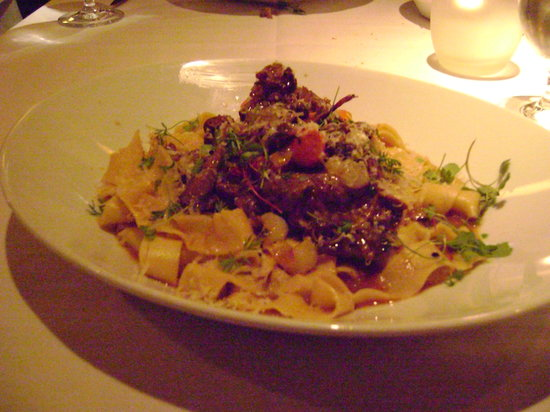 Barking Frog : Entree: Braised Superior Farms Lamb Shank Meat and Pappardelle Pasta - Sea bass, Salmon, Clams,