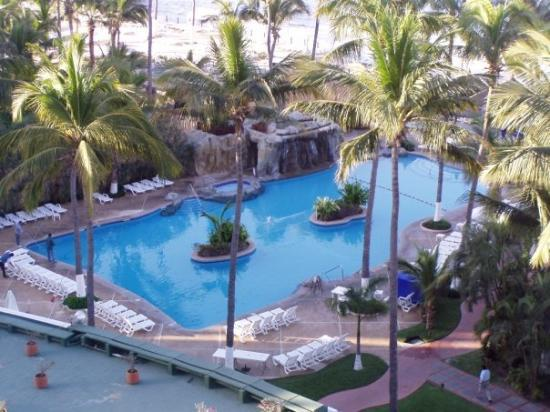 The view from our room at the Inn at Mazatlan - one of two pools.