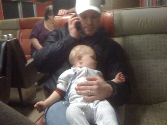Mt. Hood Railroad: Brother-in-law on the Phone and my kid fell asleep it was so boring.