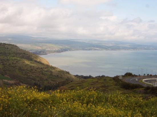 Capernaum, Israel: the lush green hills around the Sea of Galilee