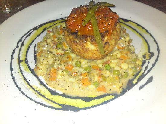 Nage : Crabcake with Corn Succotash