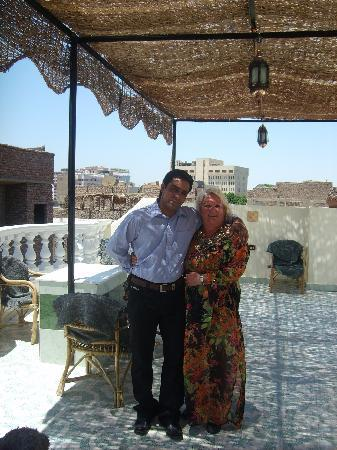 My husband and myself on the roof of Madina Heights