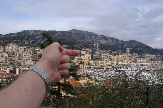 Novotel Monte Carlo: Pointing at our hotel