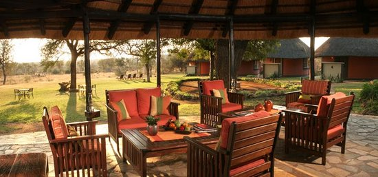Mohlabetsi Safari Lodge: The Lodge blends with nature, with views over a well frequented waterhole