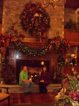 The Inn at Christmas Place: My husband and I enjoying the fireplace!