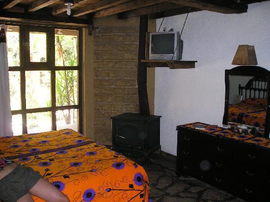 Hacienda Don Juan Hotel : Chimenea y TV con cable