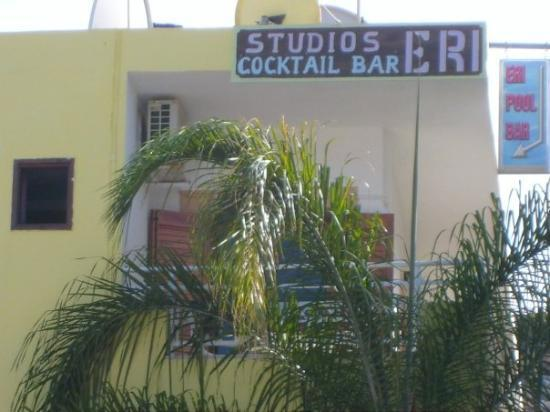 Stalis, Greece: Close up of the boys room.... yes the bar sign does point to their balcony!! lol